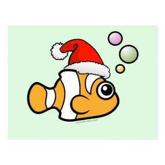 Dibujo animado Clownfish Santa Tarjeta Postal