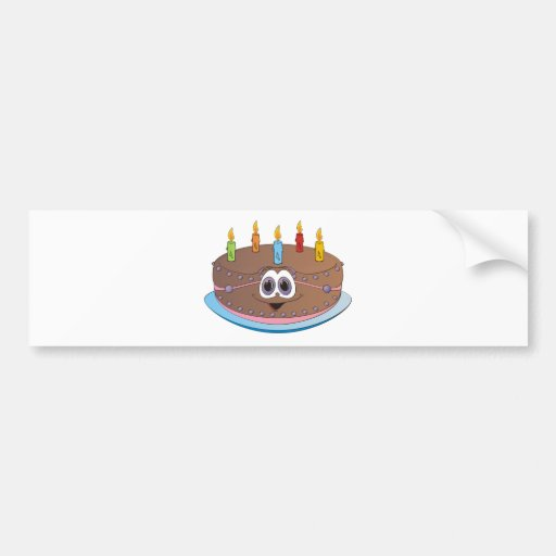 Dibujo animado colorido de las velas de la torta d pegatina de parachoque