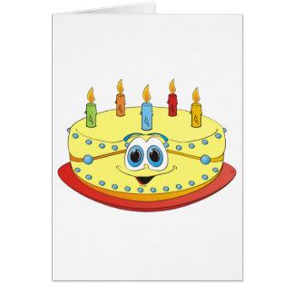 Dibujo animado colorido de las velas de la torta d tarjeta de felicitación