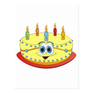 Dibujo animado colorido de las velas de la torta postales
