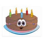 Dibujo animado colorido de las velas de la torta postal
