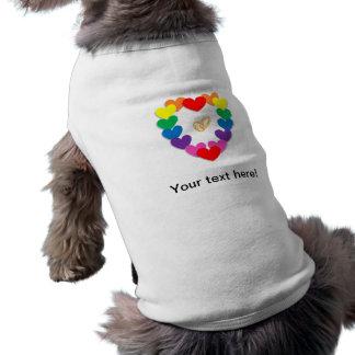 Dibujo animado colorido de los corazones y de los playera sin mangas para perro