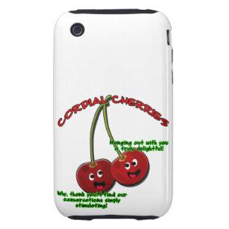 dibujo animado cordial educado de las cerezas en carcasa resistente para iPhone