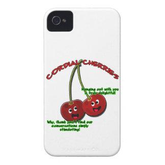 dibujo animado cordial educado de las cerezas en funda para iPhone 4 de Case-Mate