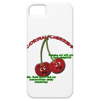 dibujo animado cordial educado de las cerezas en funda para iPhone SE/5/5s
