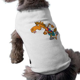 dibujo animado corriente divertido del caballo del playera sin mangas para perro