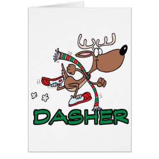 dibujo animado corriente lindo del reno DASHER Tarjetón