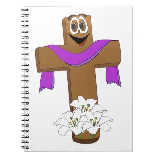 Dibujo animado cruzado de Pascua Spiral Notebook