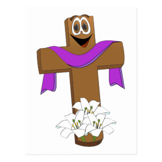 Dibujo animado cruzado de Pascua Postal