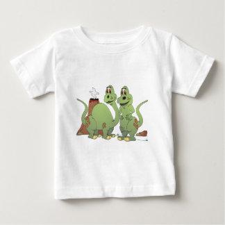 Dibujo animado de 2 amigos del dinosaurio playera de bebé