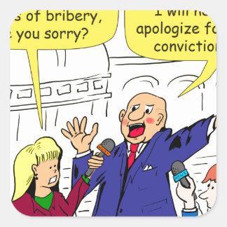 dibujo animado de 836 convicciones pegatina cuadrada