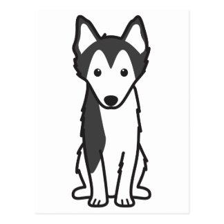 Dibujo animado de Alaska del perro de Klee Kai Postal