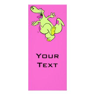 dibujo animado de baile brillante tonto del dinosa tarjeta publicitaria personalizada