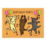 Dibujo animado de baile feliz del trío de Labrador Invitación 12,7 X 17,8 Cm