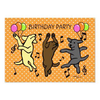 """Dibujo animado de baile feliz del trío de Labrador Invitación 5"""" X 7"""""""