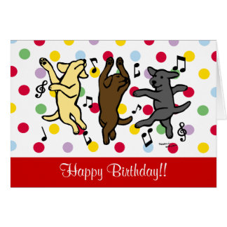 Dibujo animado de baile feliz del trío de Labrador Felicitaciones
