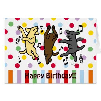 Dibujo animado de baile feliz del trío de Labrador Tarjeta De Felicitación