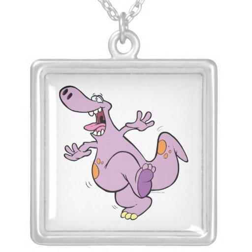 dibujo animado de baile lindo del dinosaurio de Di Colgantes Personalizados