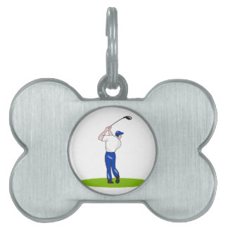 Dibujo animado de balanceo del club del golfista placa de nombre de mascota