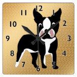 Dibujo animado de Boston Terrier Reloj