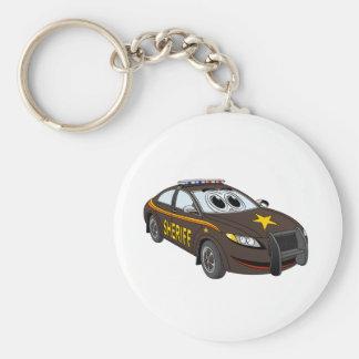 Dibujo animado de Brown del coche del sheriff Llavero Redondo Tipo Pin