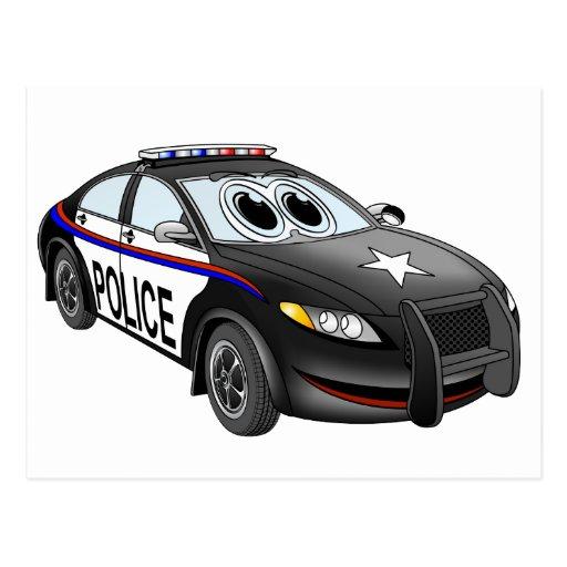 Dibujo animado de BW del coche policía Tarjeta Postal