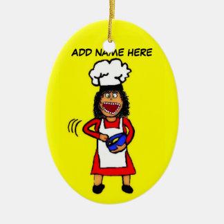 Dibujo animado de cocinar femenino adornos de navidad