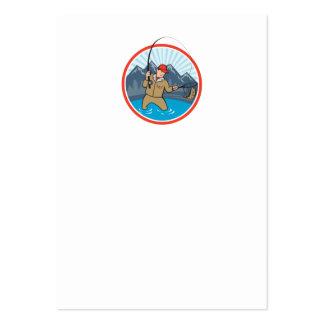 Dibujo animado de cogida de los pescados de la tru plantilla de tarjeta de negocio