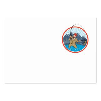 Dibujo animado de cogida de los pescados de la tru tarjetas personales