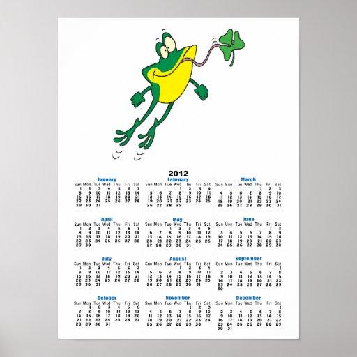 dibujo animado de cogida del trébol de la rana div poster