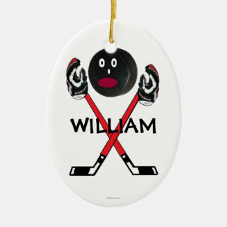 Dibujo animado de encargo del hockey adornos de navidad