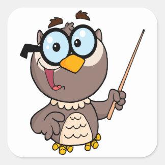 dibujo animado de enseñanza del profesor del búho pegatina cuadrada