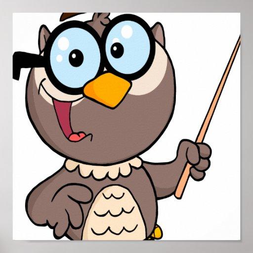 dibujo animado de enseñanza del profesor del búho  póster