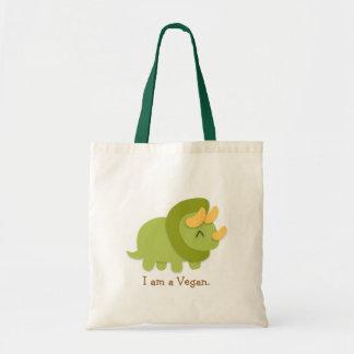 Dibujo animado de Kawaii del Triceratops verde y a Bolsa Tela Barata