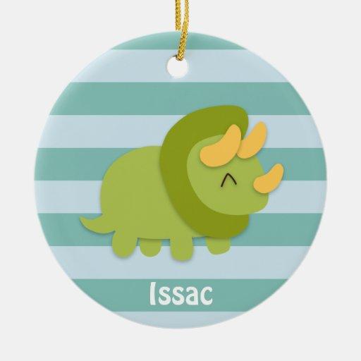 Dibujo animado de Kawaii del Triceratops verde y a Ornamento De Reyes Magos