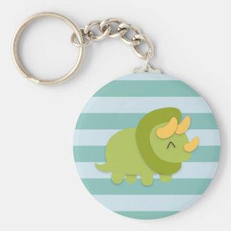 Dibujo animado de Kawaii del Triceratops verde y a Llavero Redondo Tipo Pin