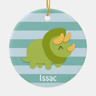 Dibujo animado de Kawaii del Triceratops verde y Adorno Navideño Redondo De Cerámica