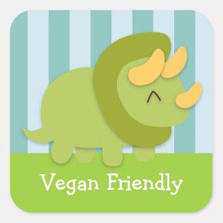 Dibujo animado de Kawaii del Triceratops verde y Pegatina Cuadrada