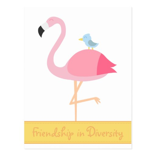Dibujo animado de la amistad: Flamenco rosado con  Postales