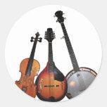 Dibujo animado de la banda de Bluegrass Etiquetas Redondas