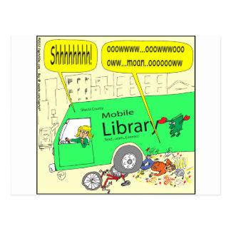 dibujo animado de la biblioteca móvil 297 tarjeta postal