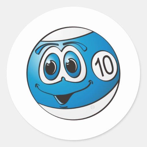 Dibujo animado de la bola de piscina diez etiqueta redonda