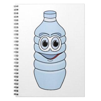 Dibujo animado de la botella de agua libro de apuntes con espiral