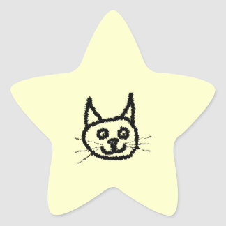 Dibujo animado de la cara del gato negro En la cr Calcomania Forma De Estrella Personalizada