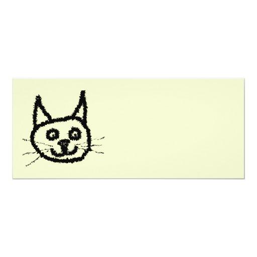 Dibujo animado de la cara del gato negro. En la Invitación 10,1 X 23,5 Cm