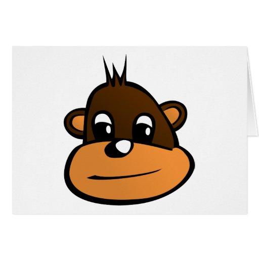 Dibujo animado de la cara del mono felicitación
