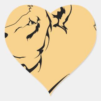 Dibujo animado de la caricatura del león pegatina en forma de corazón