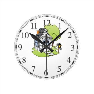 Dibujo animado de la Casa Blanca Reloj Redondo Mediano
