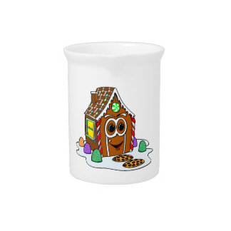 Dibujo animado de la casa del pan del jengibre jarrones