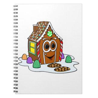 Dibujo animado de la casa del pan del jengibre libros de apuntes